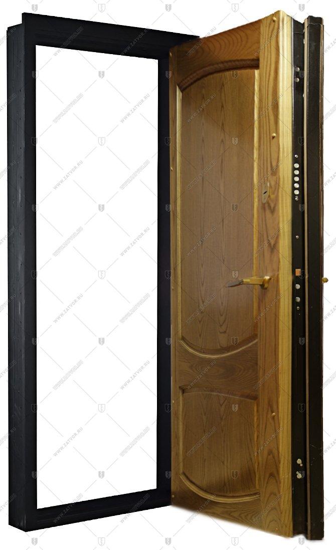 стальная дверь с облицовкой из массива мо